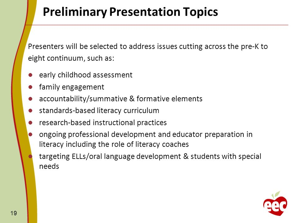 Preliminary Presentation Topics