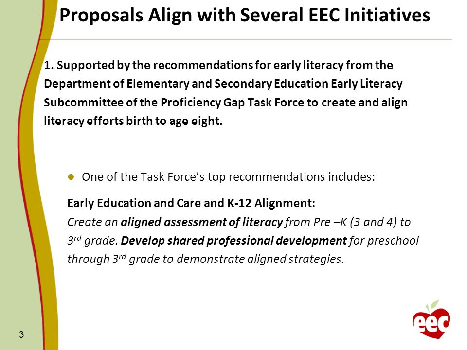 Proposals Align with Several EEC Initiatives