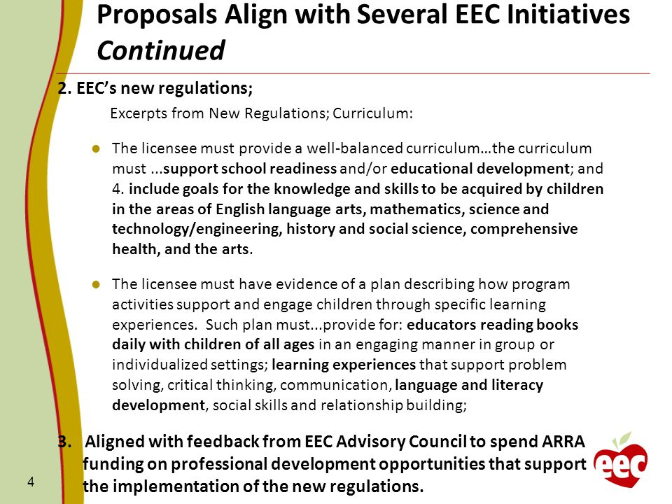 Continued Proposals Align with Several EEC Initiatives