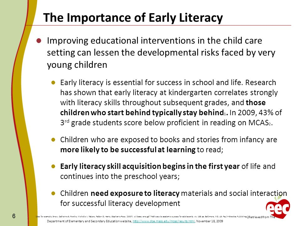 the importance of literature tool in early childhood education development Published: mon, 5 dec 2016 this literature review collates evidence on the importance of play for the child's holistic development in early childhood concepts, theories, benefits of play, social policies, curriculum standpoints and the continuous conflicting debates which are related to this area were studied.