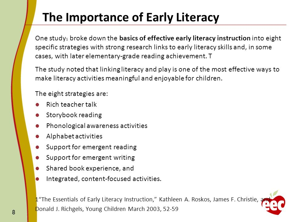 emergent literacy support in early childhood education essay Emergent literacy support in early childhood education in selected preschools of kasempa and solwezi districts of northwestern province, zambia thomas m zimba.