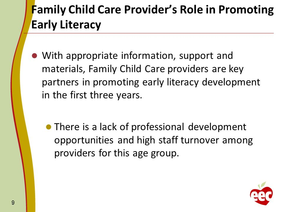 Family Child Care Provider's Role in Promoting Early Literacy