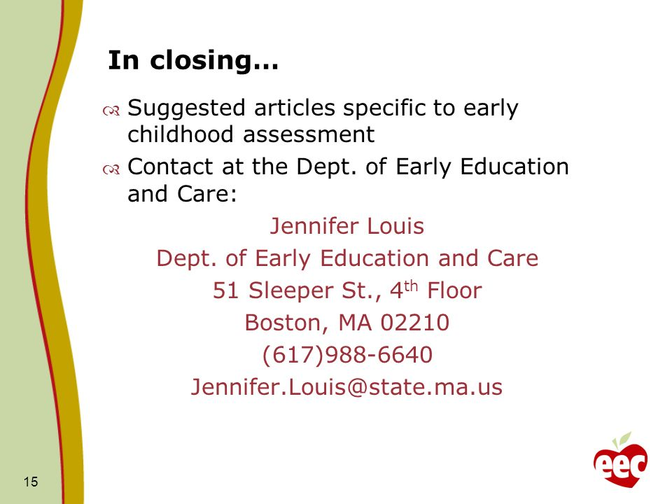 Dept. of Early Education and Care