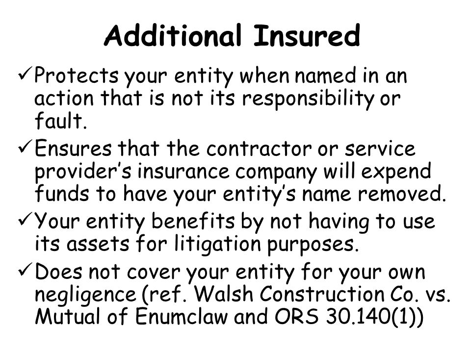 Additional Insured Protects your entity when named in an action that is not its responsibility or fault.