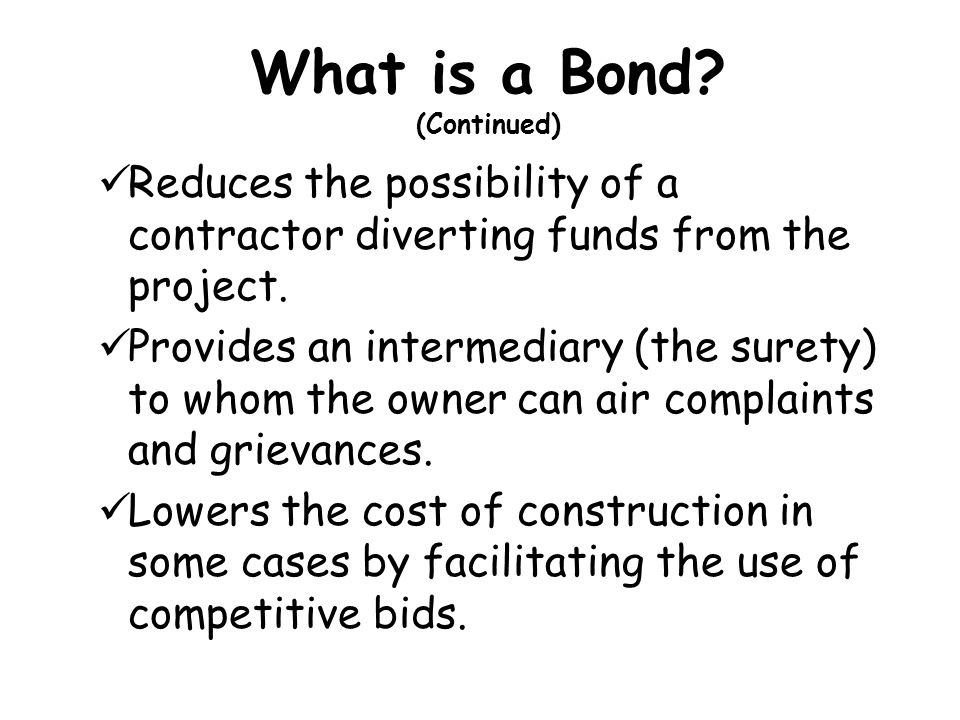 What is a Bond (Continued)