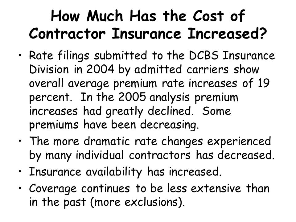 How Much Has the Cost of Contractor Insurance Increased
