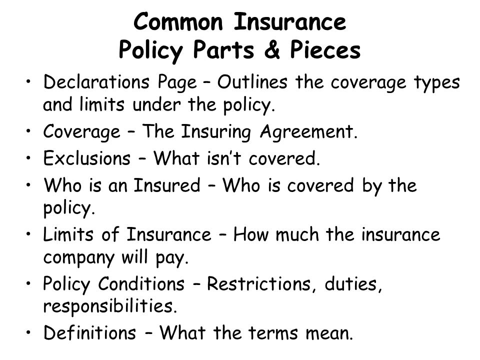 Common Insurance Policy Parts & Pieces