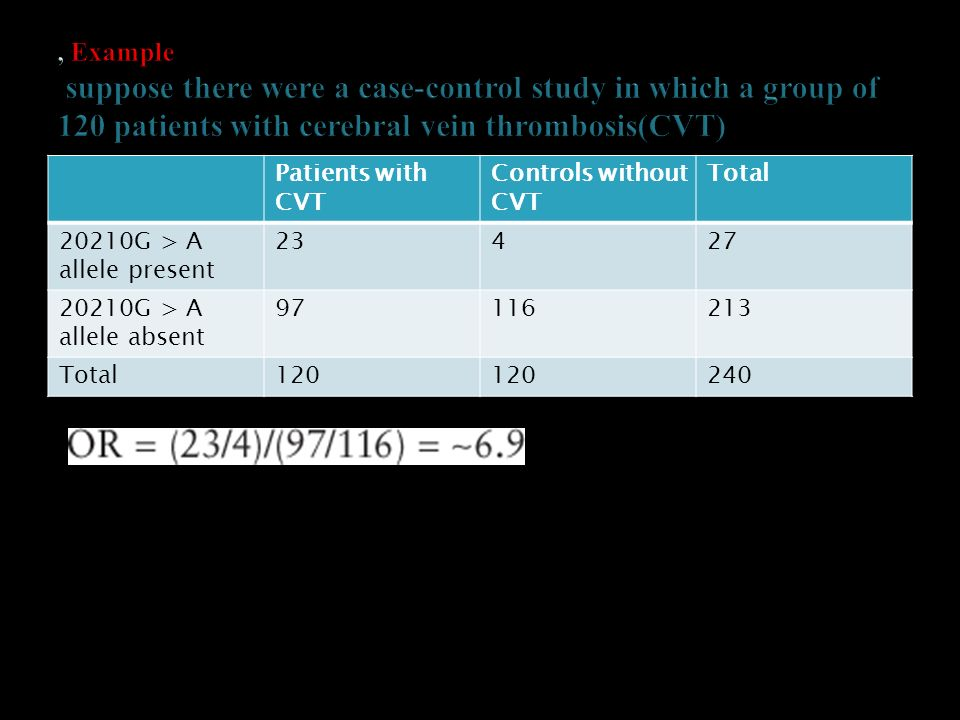 , Example suppose there were a case-control study in which a group of 120 patients with cerebral vein thrombosis(CVT)