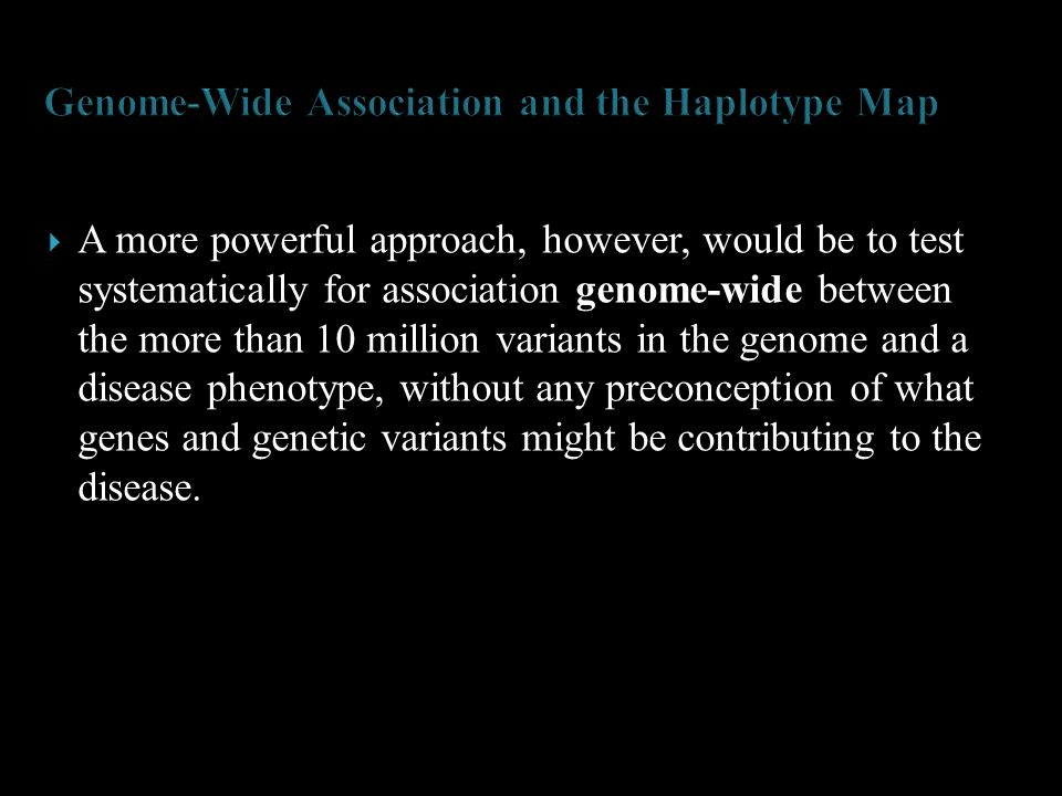 Genome-Wide Association and the Haplotype Map