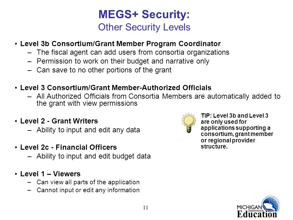 MEGS+ Security: Other Security Levels