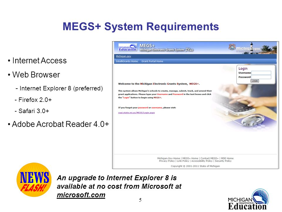 MEGS+ System Requirements