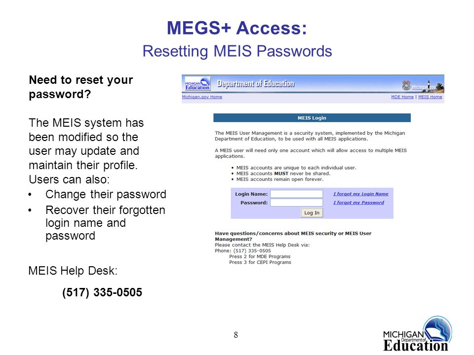 MEGS+ Access: Resetting MEIS Passwords