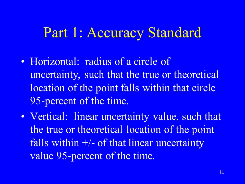 Part 1: Accuracy Standard