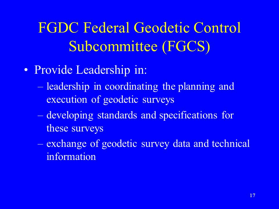 FGDC Federal Geodetic Control Subcommittee (FGCS)