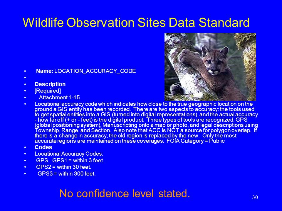 Wildlife Observation Sites Data Standard