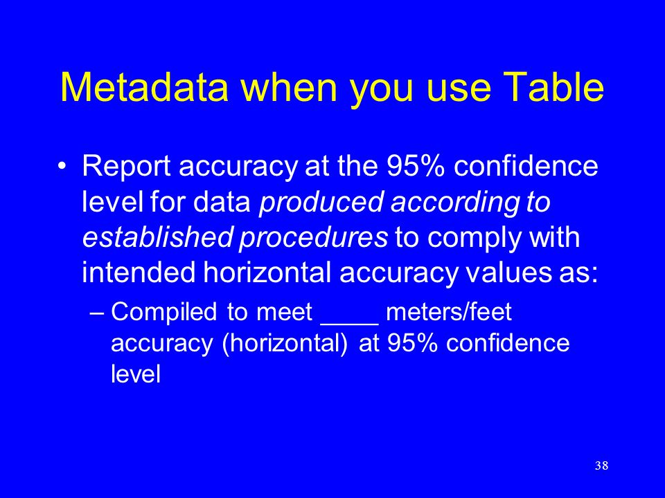 Metadata when you use Table