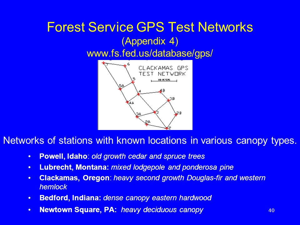 Forest Service GPS Test Networks (Appendix 4) www. fs. fed