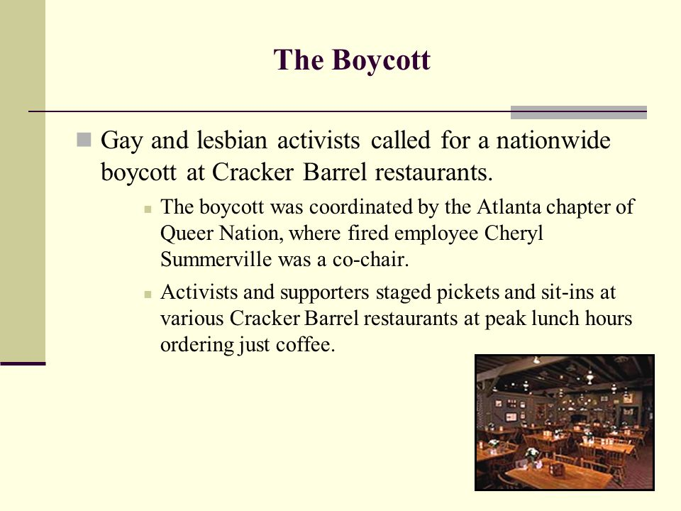 Cracker barrel discrimination gay