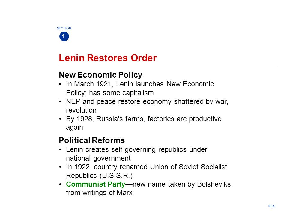 Lenin Restores Order New Economic Policy Political Reforms
