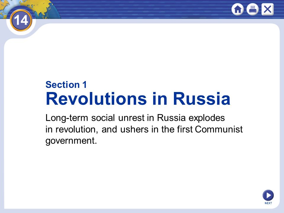 Revolutions in Russia Section 1
