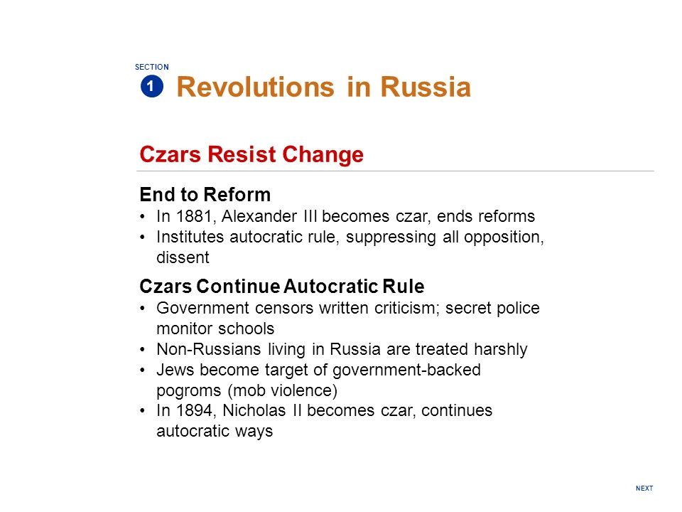 Revolutions in Russia Czars Resist Change End to Reform