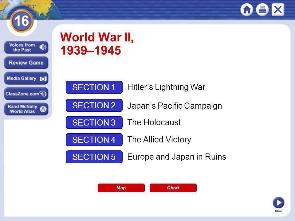 World War II, 1939–1945 SECTION 1 Hitler's Lightning War SECTION 2
