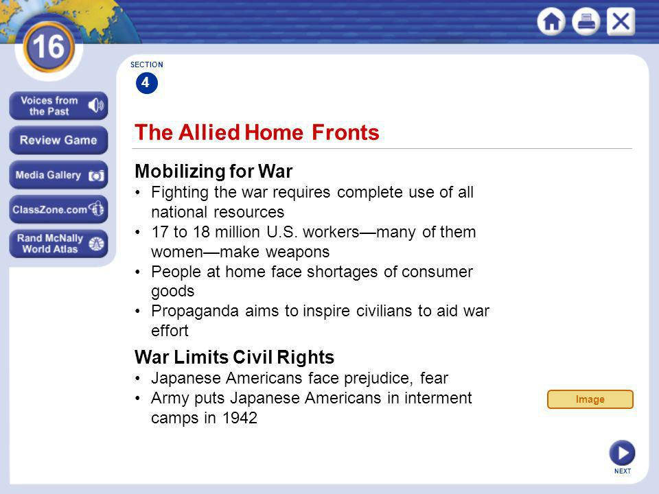 The Allied Home Fronts Mobilizing for War War Limits Civil Rights