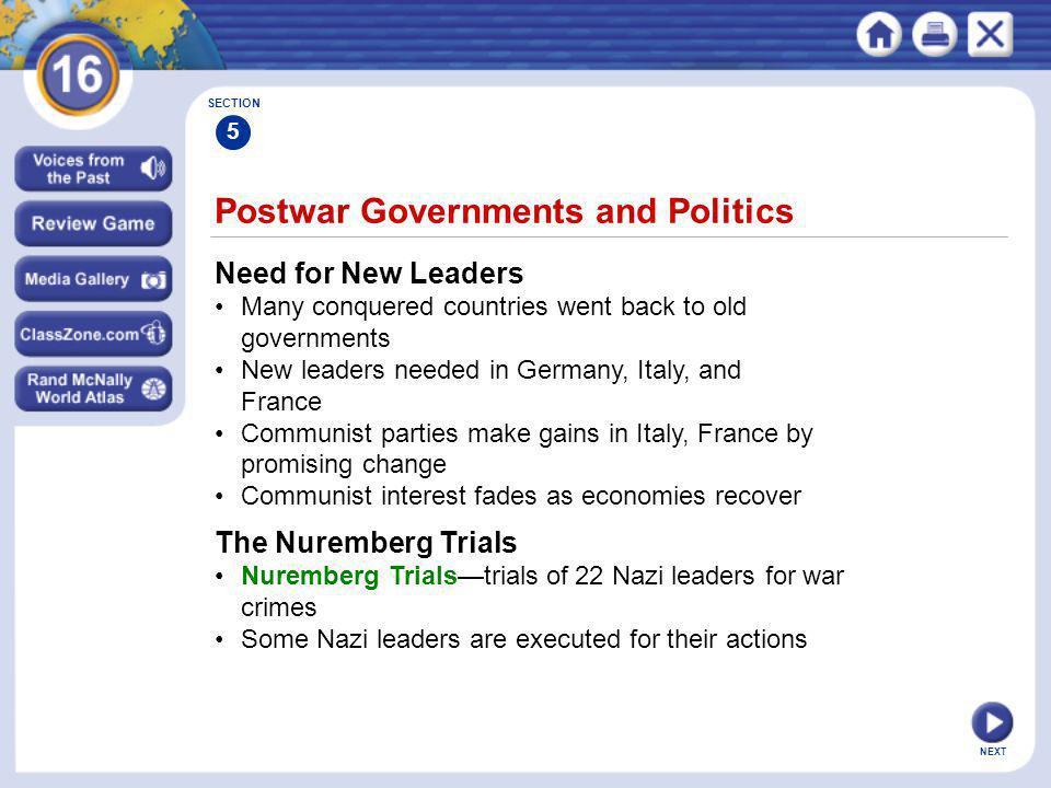 Postwar Governments and Politics