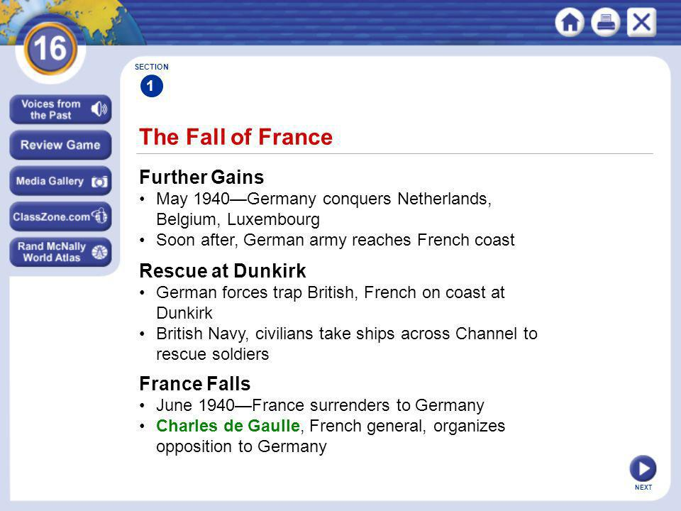 The Fall of France Further Gains Rescue at Dunkirk France Falls