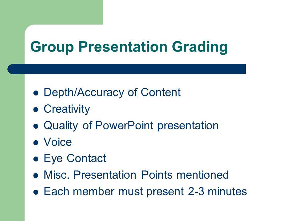 Group Presentation Grading