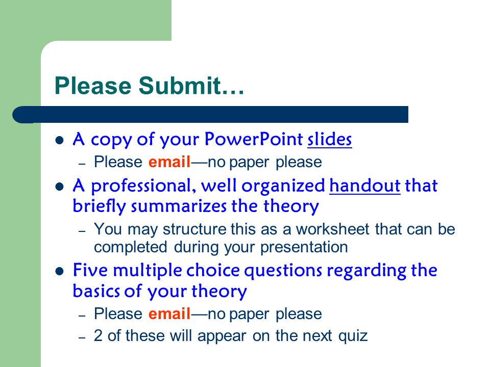 Please Submit… A copy of your PowerPoint slides