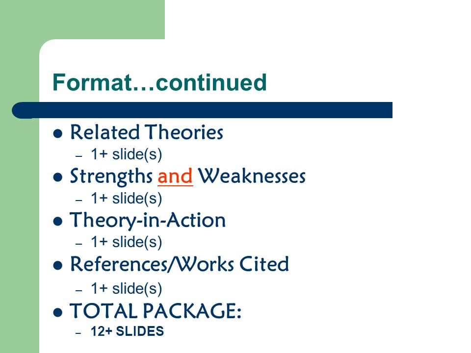 Format…continued Related Theories Strengths and Weaknesses