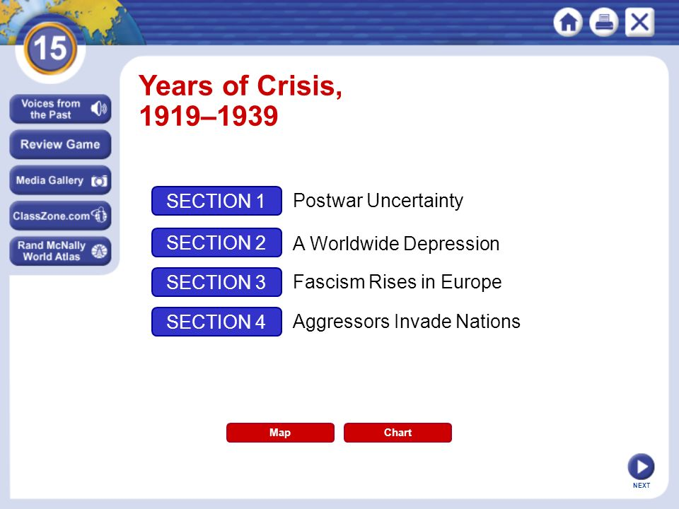 Years of Crisis, 1919–1939 SECTION 1 Postwar Uncertainty SECTION 2