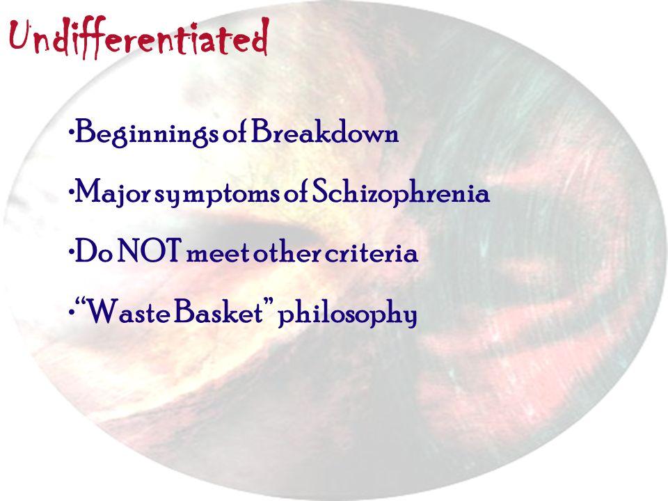 Undifferentiated Beginnings of Breakdown