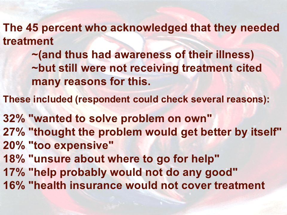 The 45 percent who acknowledged that they needed treatment