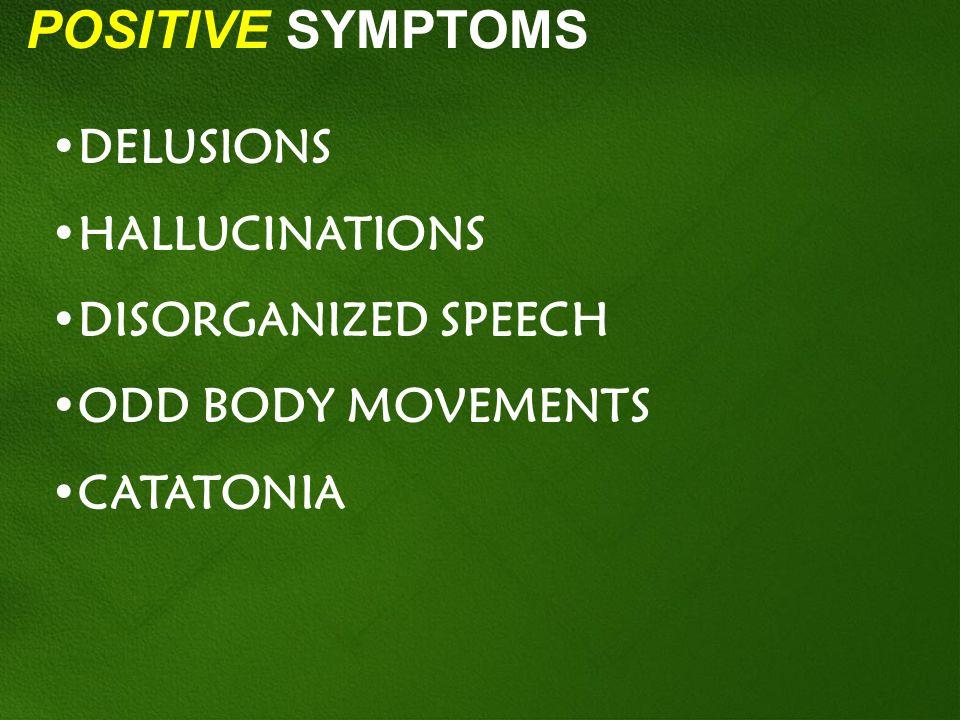 POSITIVE SYMPTOMS DELUSIONS HALLUCINATIONS DISORGANIZED SPEECH