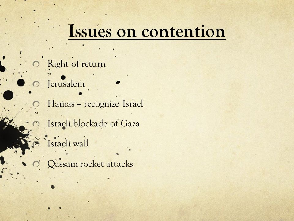 Issues on contention Right of return Jerusalem
