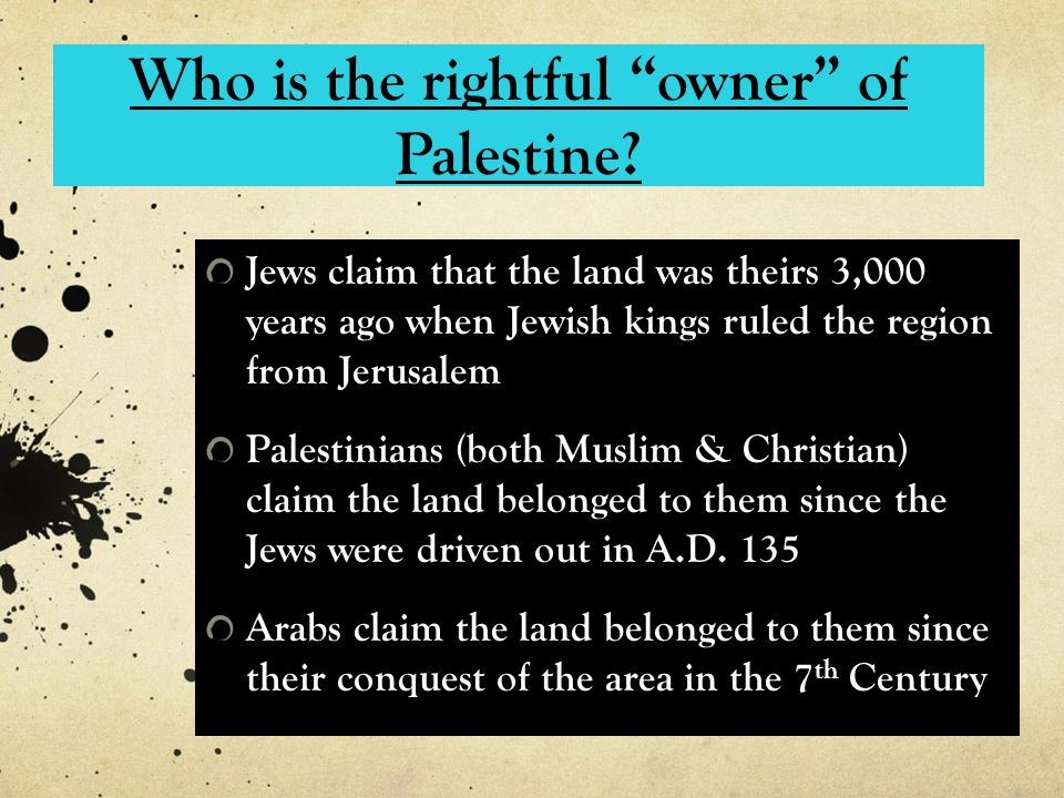 Who is the rightful owner of Palestine