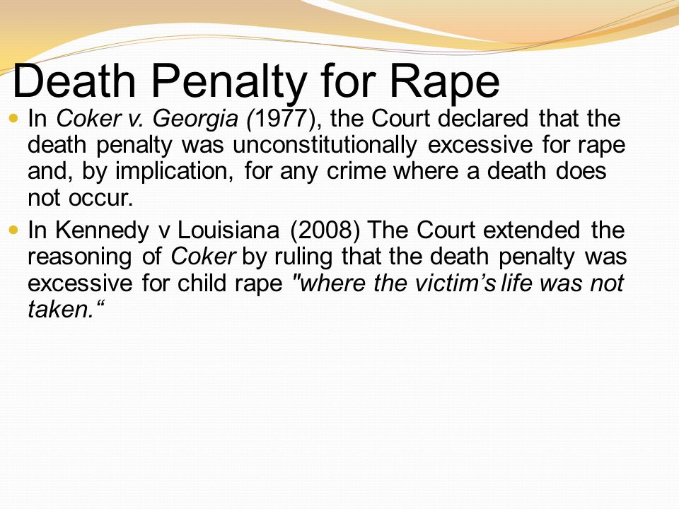 Death Penalty for Rape