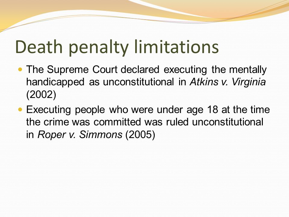 Death penalty limitations