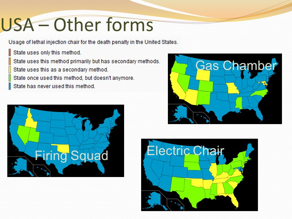 USA – Other forms Gas Chamber Electric Chair Firing Squad