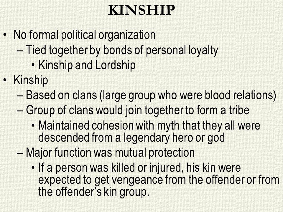 KINSHIP No formal political organization