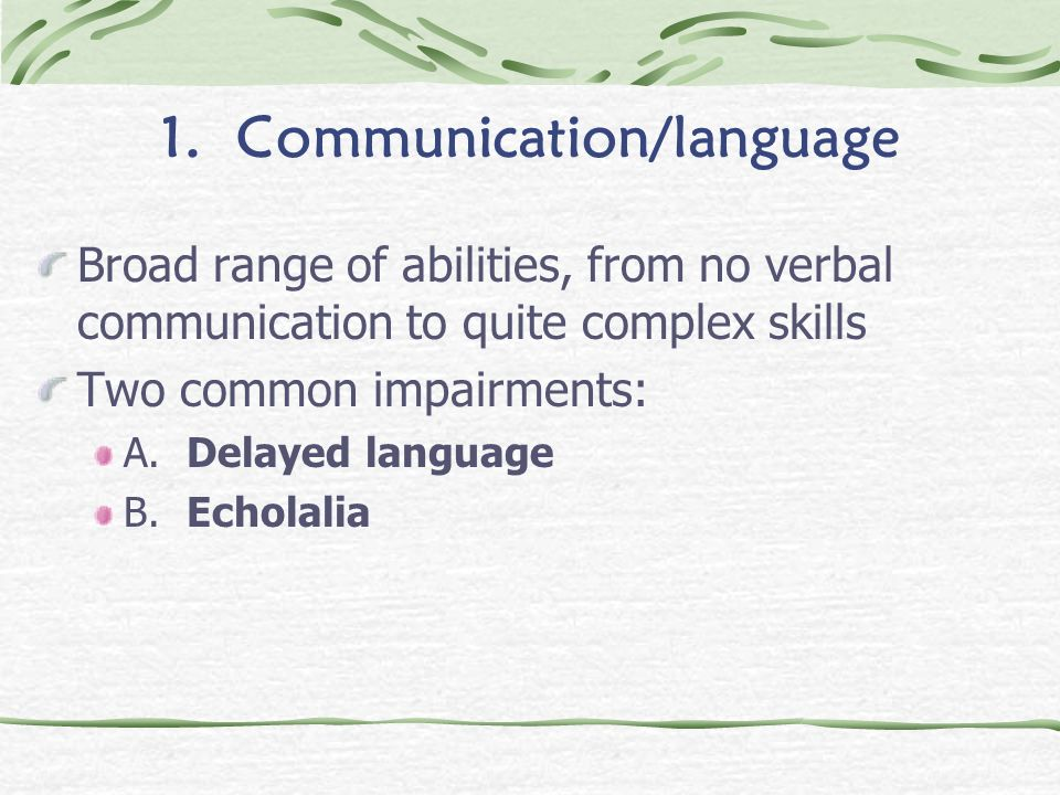 1. Communication/language