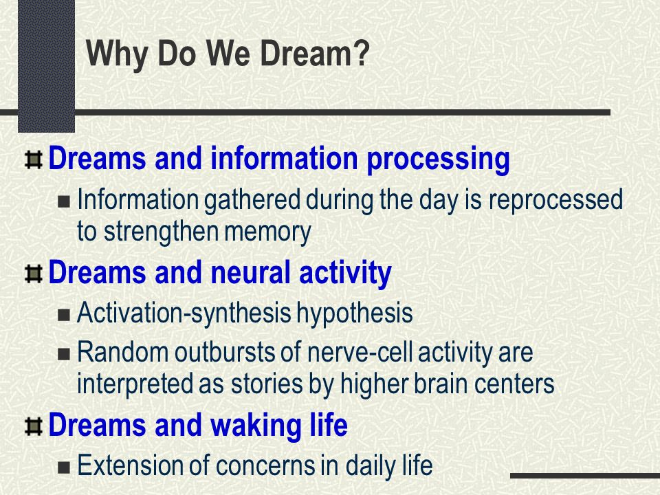 Why Do We Dream Dreams and information processing