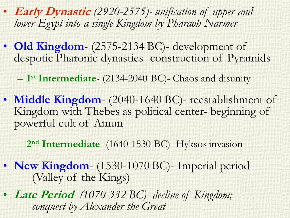 New Kingdom- (1530-1070 BC)- Imperial period (Valley of the Kings)