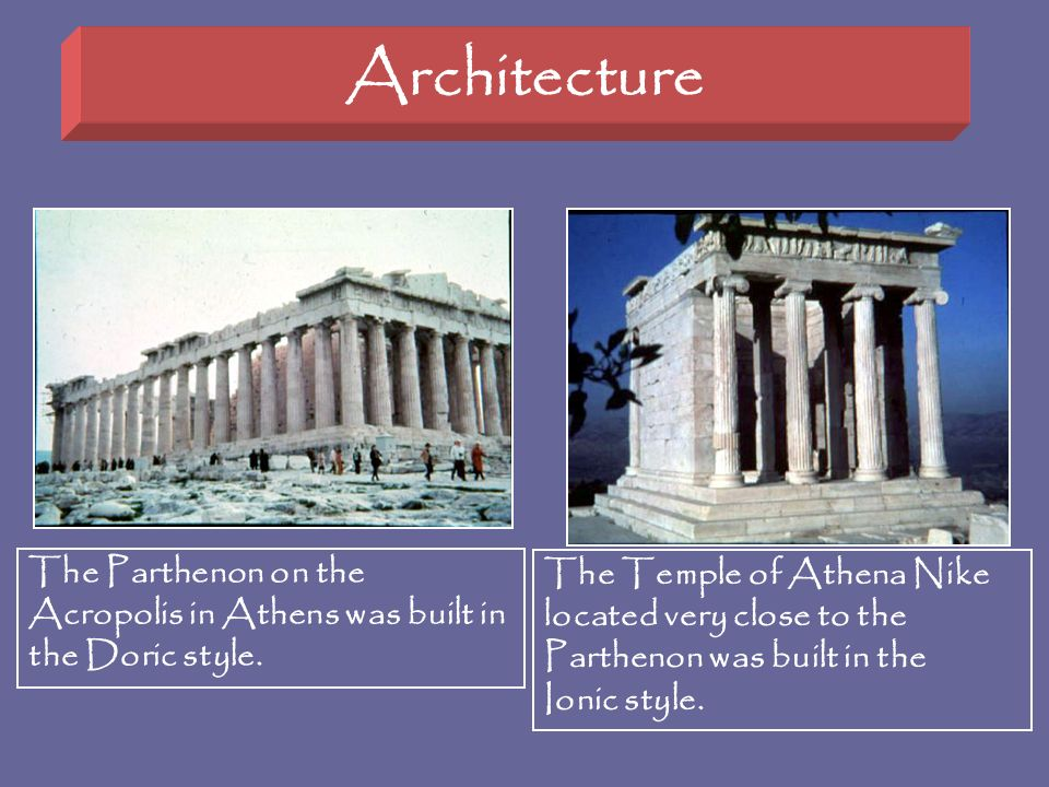 Architecture The Parthenon on the Acropolis in Athens was built in the Doric style.