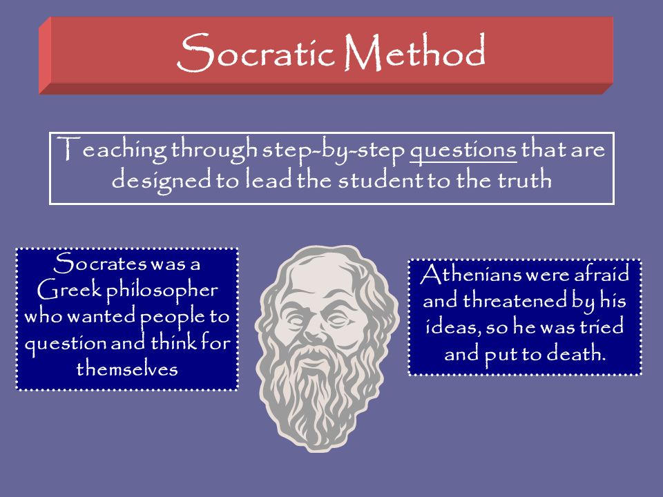 Socratic Method Teaching through step-by-step questions that are designed to lead the student to the truth.