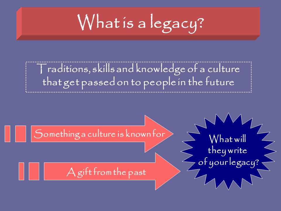 What is a legacy Traditions, skills and knowledge of a culture that get passed on to people in the future.