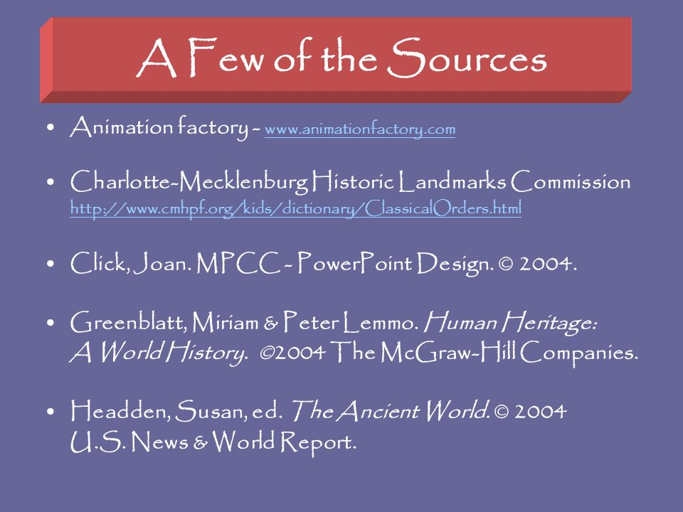 A Few of the Sources Animation factory -