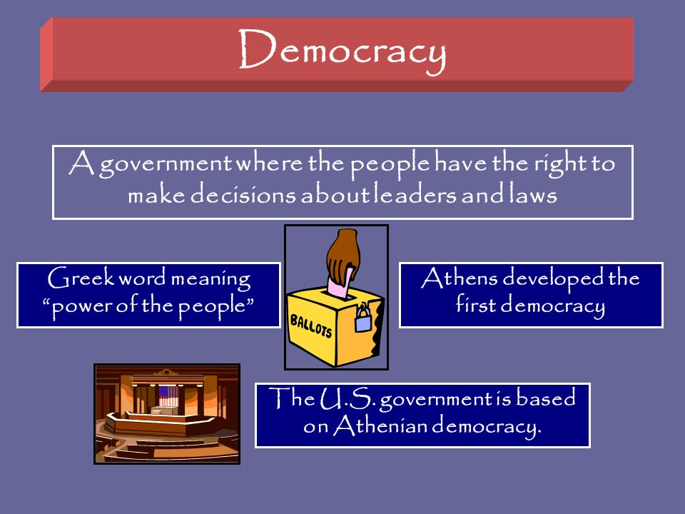 Democracy A government where the people have the right to make decisions about leaders and laws. Greek word meaning power of the people